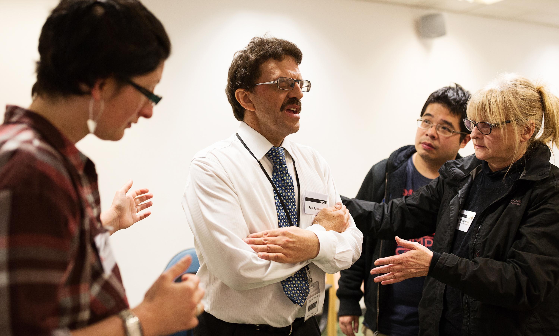 Paul Radomskij demonstrating vestibular rehabilitation techniques