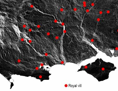Omnidirectional map of south-central England and royal vills