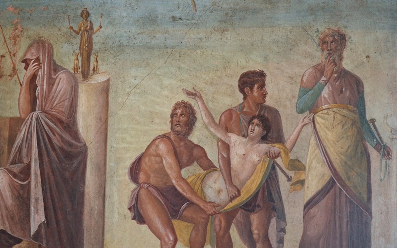 Fourth Style fresco depicting the Sacrifice of Iphigenia, from the House of the Tragic Poet in Pompeii, Naples National Archaeological Museum