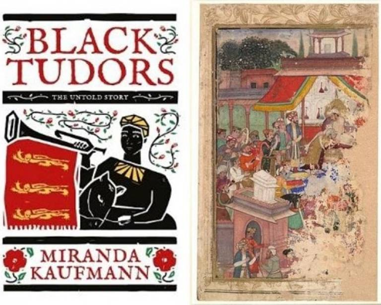 Black Tudor book cover and European diplomats at Jahangirs Court