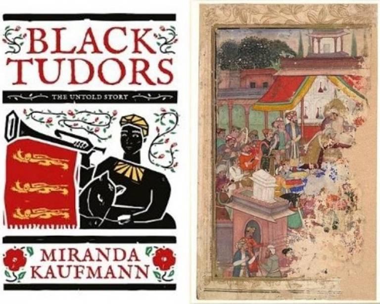 Black Tudor book cover and European diplomats at Jahangirs Court