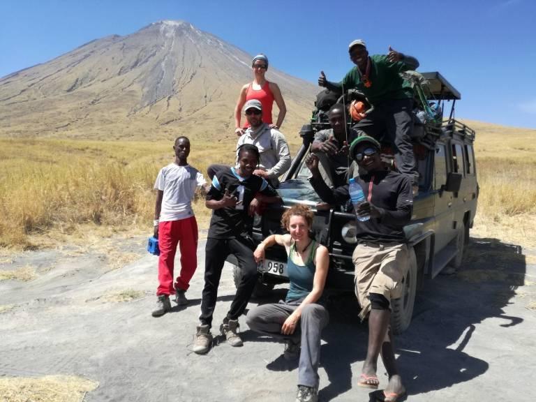 The Team: Papakinye Lemolo, Boni Kicha, Ignas Mtui, Boni Mawe, Amadeus Mtui, Emma Liu, Arno Van Zyl, Kate Laxton (driver: Baraka)