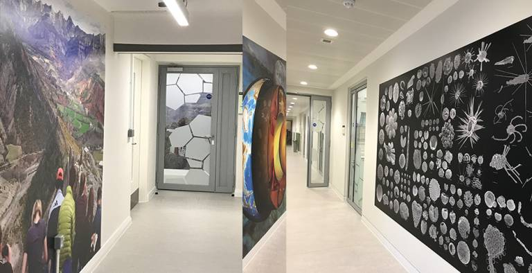 The corridors in our new building decorated with 'super-graphics'.