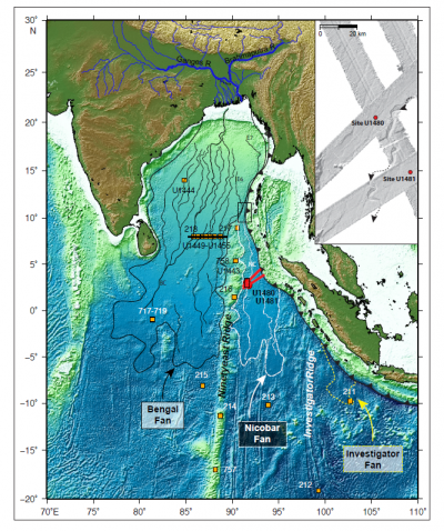 Regional map of the Bengal Nicobar and Investigator fans, Indian Ocean
