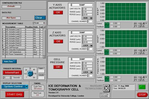 The System control screen allows individual control of each control axis giving control information feedback from the RT engine program previously down loaded to the RT board.
