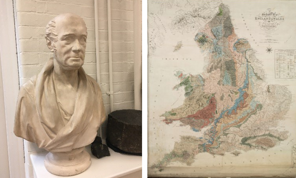 The bust of Greenough in the Rock Room at UCL and Greenough's Map