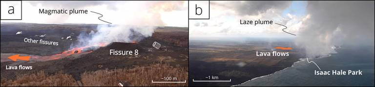 The 2018 eruption of Kilauea produces two eruption plumes, one at the main magmatic vent (A) and the second where lava flows met the ocean (B). Modified from Mason et al., (2021)
