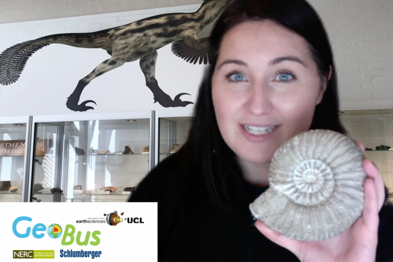 Amy Edgington on a backdrop of cabinets of rocks and minerals and holding an ammonite fossil.