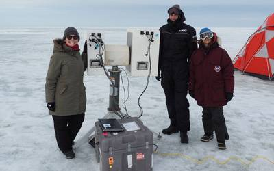 Julienne Stroeve, Arctic Research Radiometer set up.