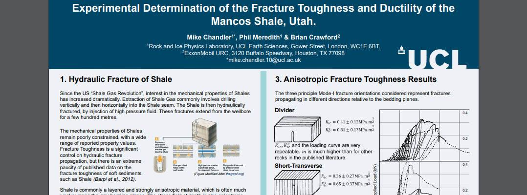Experimental Determination of theFracture Toughness and Brittleness of theMancos Shale, Utah.
