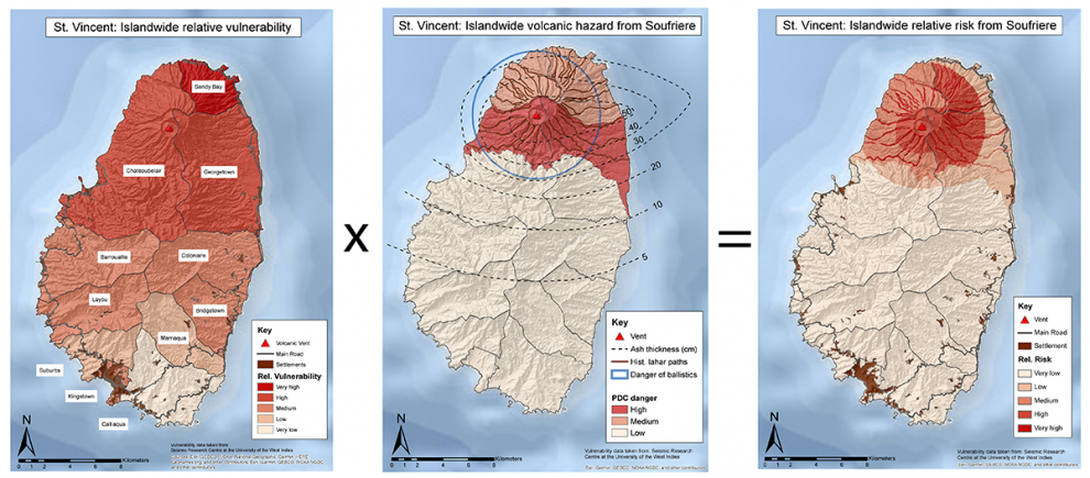 A map of St. Vincent (eastern Caribbean) showing the relative risk across the island in the event of an eruption from the Soufrière volcano.