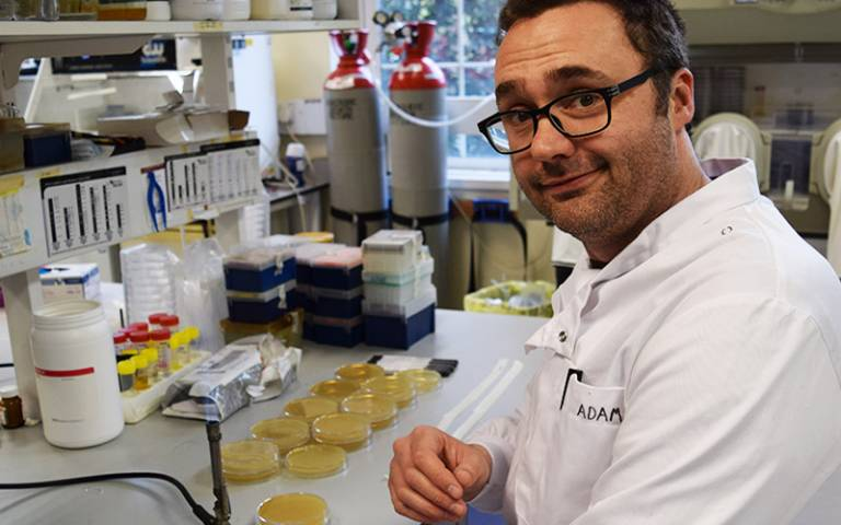 Adam Roberts in his lab