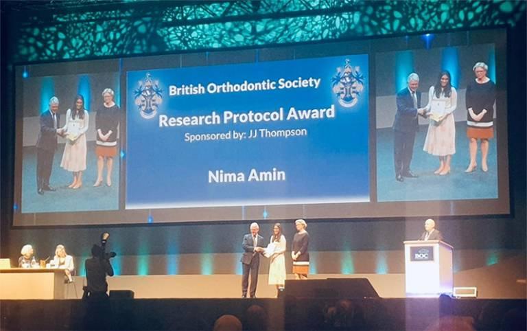 Eastman postgraduate Nima Amin receives her award at British Orthodontic Conference