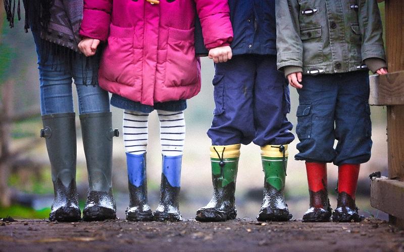children in wellies