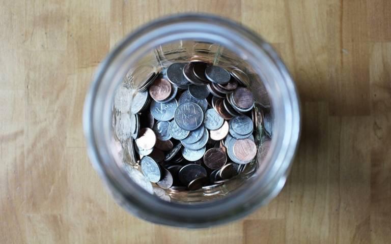 birdseye view of money in a jar