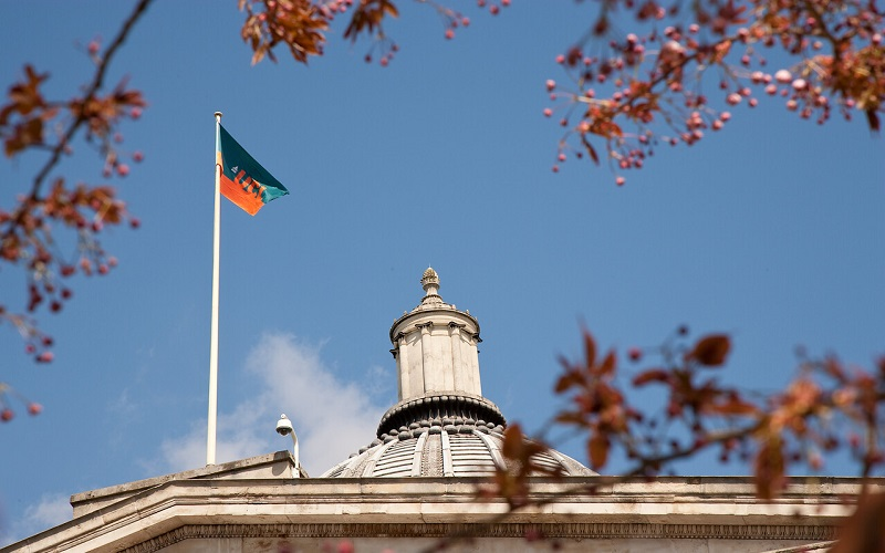 UCL flag on top of a building