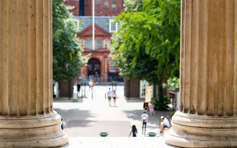 Students walking across the UCL Campus