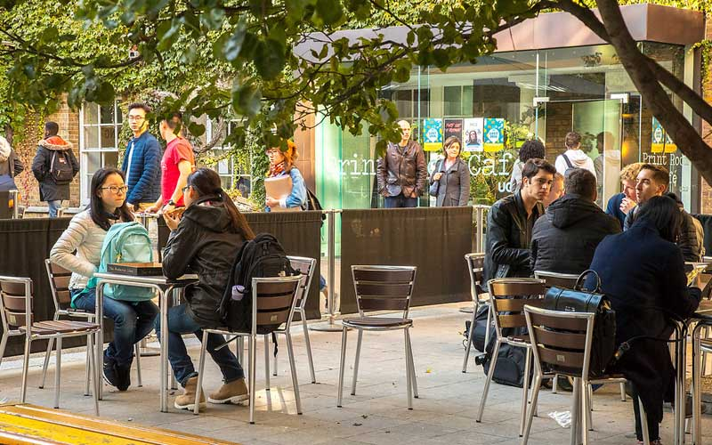 students sitting at an outside cafe