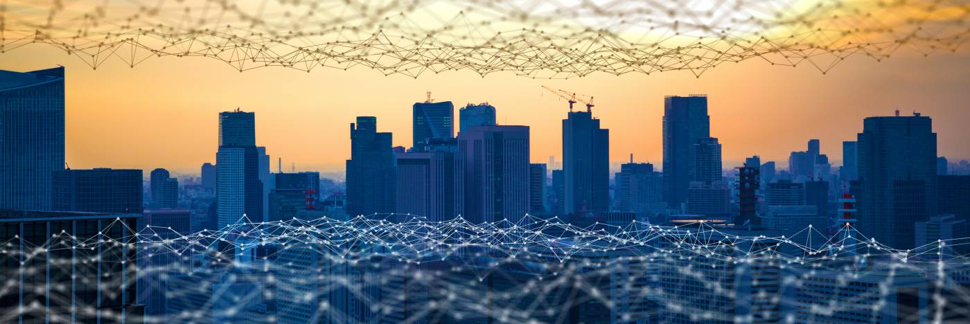 Communication network representation overlaid over modern city