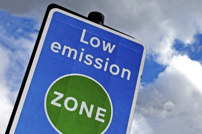 An image of a sign marking London's Low emission zone