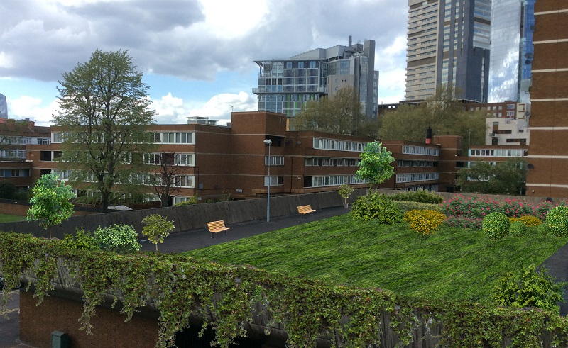 An artist's depiction of how the planned community roof garden at Kipling Estate, Bermondey might look when completed