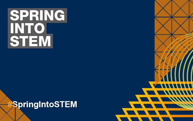 Spring into STEM Virtual Lecture Series logo on a blue background with orange triangles superimposed on top.