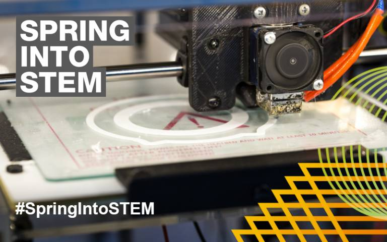 """3d Printer with """"Spring into STEM"""" overlay"""