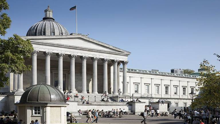 The UCL Portico, a neo-classical columned building.