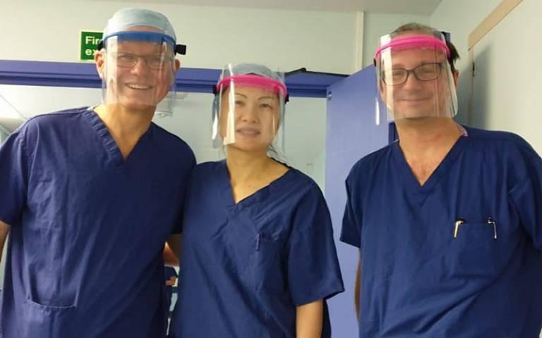 Royal Free Hospital staff wearing 3D printed protective visors