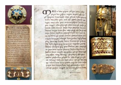 Old English manuscript and objects
