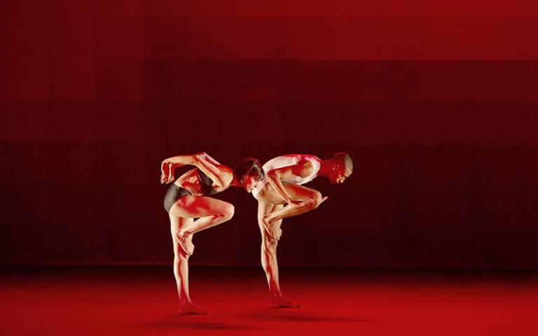 Two dancers performing in Wayne McGregor's Atomos