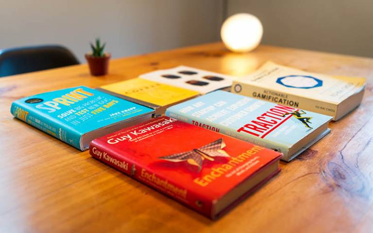 Books spread out on a table