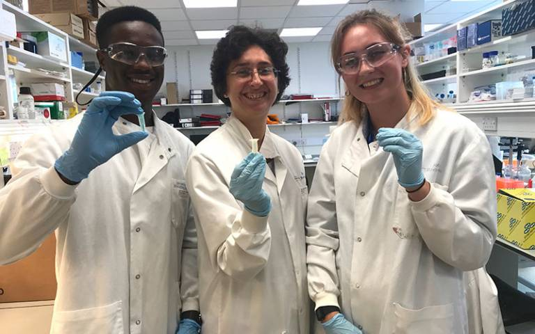 Young people on a science placements with in2scienceUK