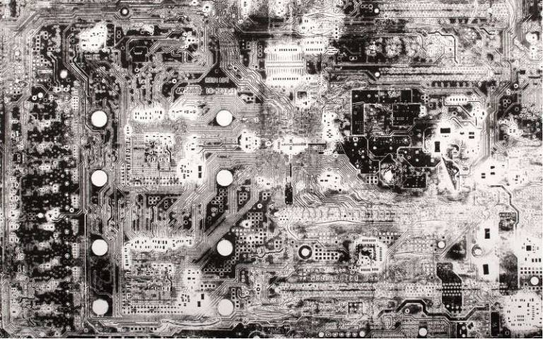 Black and white photo of a circuit board © Jake Elwes