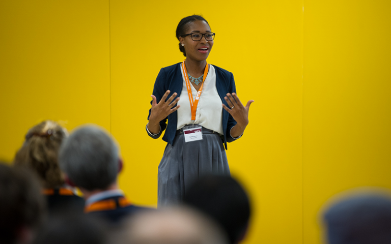 An entrepreneur talking to an audience