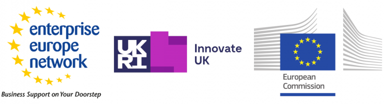 Logos of the Enterprise Europe Network, Innovate UK and the European Commission