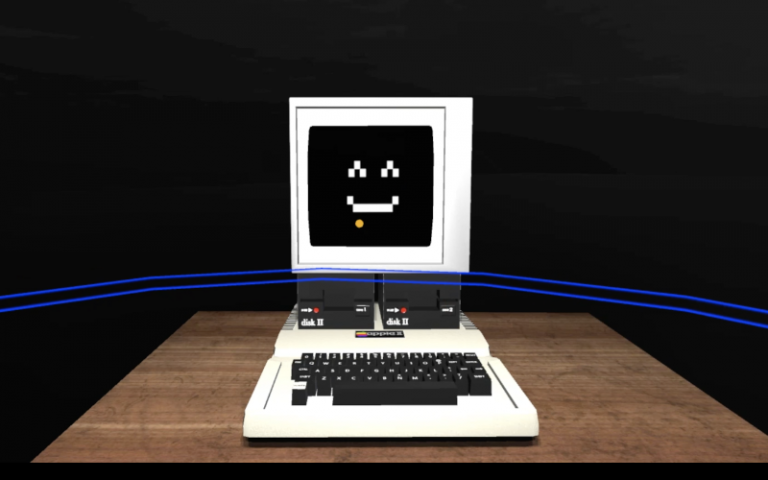 A smiling computer in a VR room