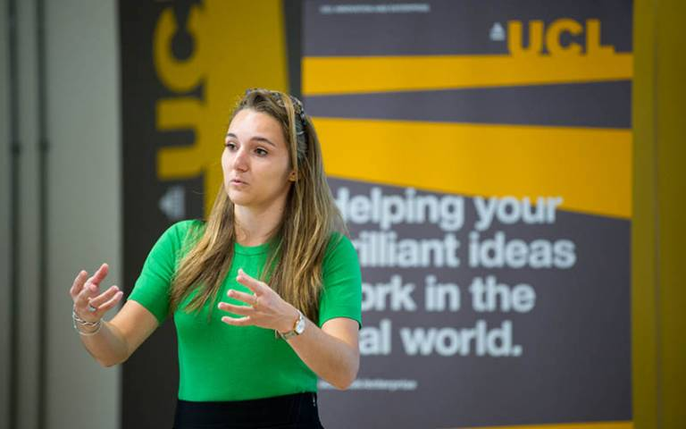 Student pitching at UCL's Global Citizenship Programme 2018