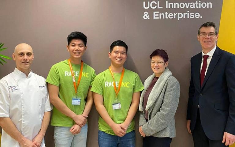Rice Inc founders Kisum Chan and Lincoln Lee with Michael Shipman, Sodexo Head Chef, Dr Celia Caulcott, Vice-Provost (Enterprise), and Andy Norton, Sodexo Retail Director at UCL.