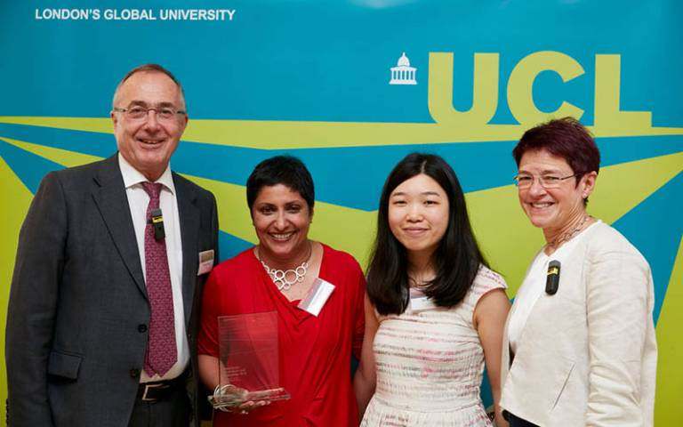 Professor Michael Arthur, Dr Manjula Patrick and Dr Celia Caulcott at the UCL Awards for Innovation and Enterprise 2019