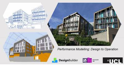 Two design images of a building and a photo of the completed building. Logos for DesignBuilder, Innovate UK and UCL