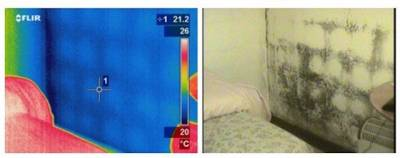 A thermal image highlighting dampness in the wall of a building