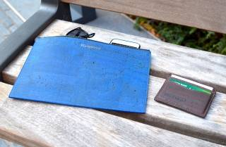Wallet and laptop case made from a leather alternative