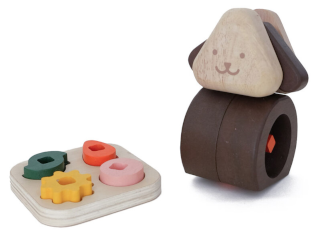 Wooden toy in the shape of a dog, with a selection of gears which fit into the dog