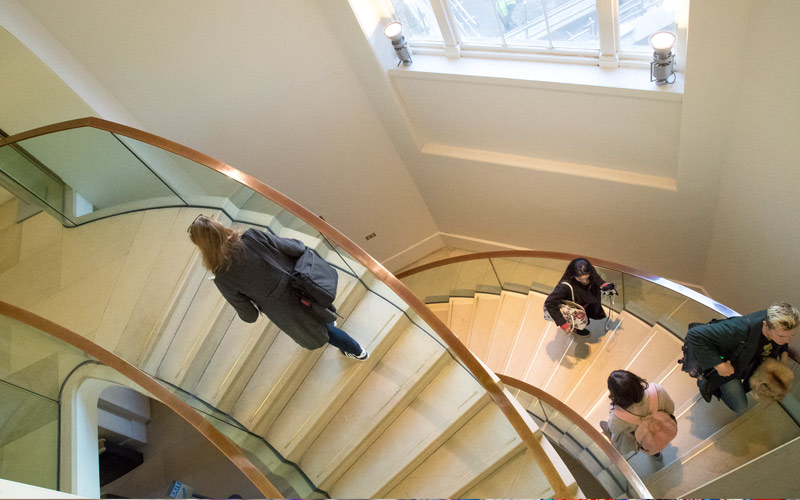 People walking on the stairs in UCL