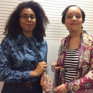 Caroline Bressey and Gemma Romain with UCL Cultural Project of the Year award, 7 May 2015