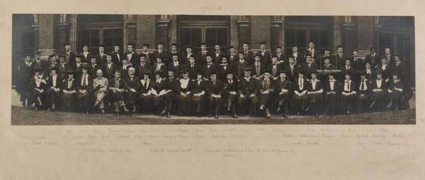 Royal College of Art 1922-23 Convocation photograph, highlighting Vasu Deva Sharma. Courtesy of Royal College of Art archive
