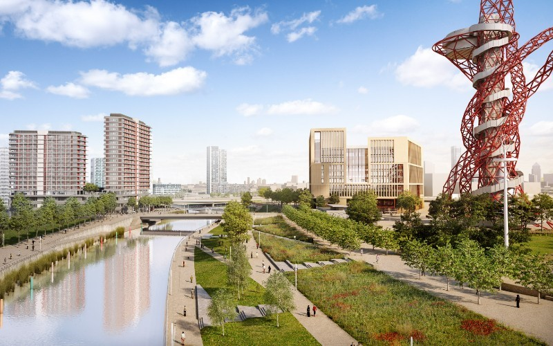 an artists digital rendition of the view of UCL East from the river Lea as it passes the red deconstructivist ArcelorMittal tower