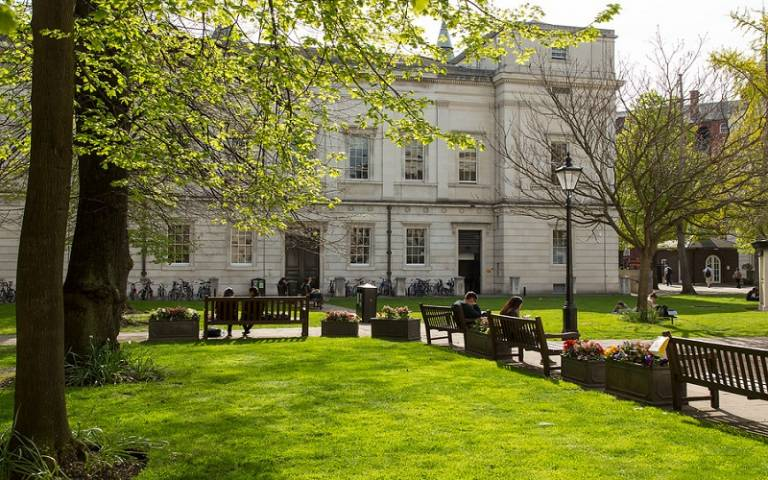 The front quad in bloom easter at UCL