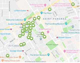 Map of AED's across Bloomsbury Campus